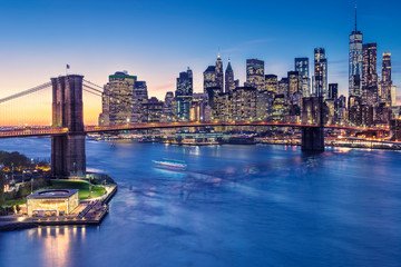 a magnificent view of the lower Manhattan and Brooklyn Bridge Wall mural