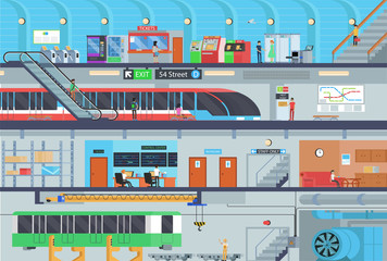 Flat vector metro station infographics. Subway levels with passengers and staff.