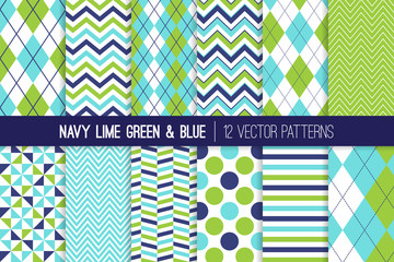Navy, Lime Green and Aqua Blue Seamless Vector Patterns. Argyle, Chevron, Polka Dots, Herringbone, Stripes and Windmill Prints for Baby Boy Theme Decor. Repeating Pattern Swatches Included.