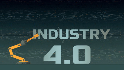 robotic arm that compose the words: industry 4.0, concept of autonomous technology, abstract futuristic background (3d render)