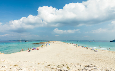 Playa de ses Illetes is the most popular beach of Formentera. Formentera island. Spain