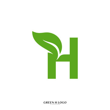 Letter H with Leaf logo design concept vector. Initial H Nature logo template
