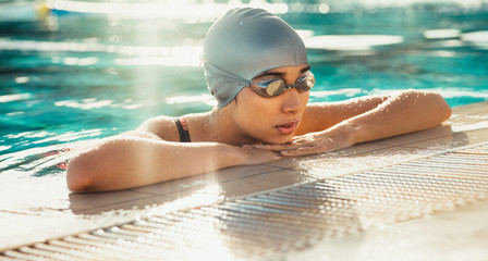 Swimmer taking rest after practise
