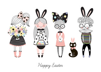 Vector set of Easter themed cute kids characters in cartoon style. Girl and Boy with flowers, bunny ears, eggs hunt. Colourful Easter graphics.