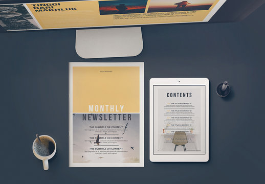 Newsletter Layout With Yellow Accent