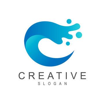 Wave Letter C Logo