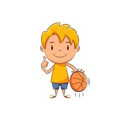 Kid basketball player