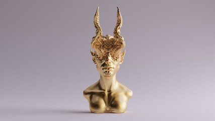 Gold Antique Horned Demon Queen Statue Bust 3d illustration 3d render