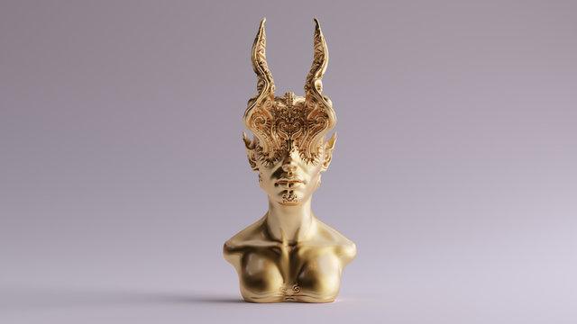 Gold Antique Horned Demon Queen Statue Bust 3d illustration 3d render
