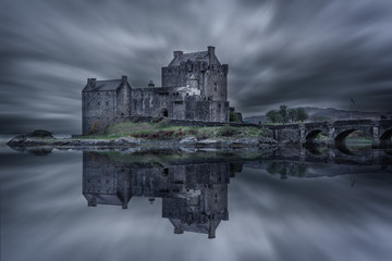 Elian Donan Castle before storm, Isle of Skye, Scotland Wall mural