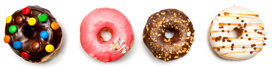 Four different donuts isolated on the white background