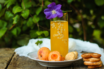 apricots and apricot juice - ripe fruit, juicy. copy space. top
