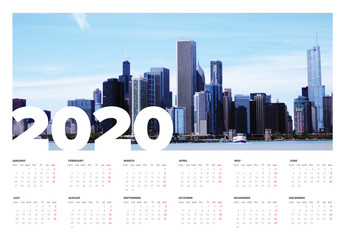 2020 Calendar Layout with Cityscape Photo