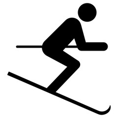 nwss3 NewWinterSportSign nwss - gz275 GrafikZeichnung - siwb522 SignIsolatedWhiteBackground siwb - german - Ski: Skifahren (Winter) - english - skiing - (skier) - simple template - square xxl g7029