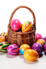 Basket of Easter eggs on table. easter decoration