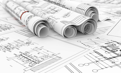 construction blueprints in rolls 3d illustration