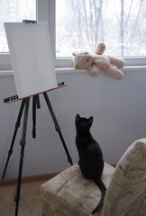 The black cat sits on a chair in front of the easel with a blank canvas and looks at a teddy bear. Winter outside the window.