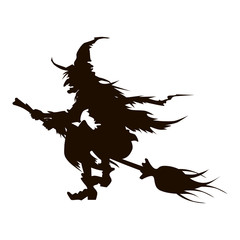 Vector illustrations of Halloween silhouette wicked witch with hat on broom fly