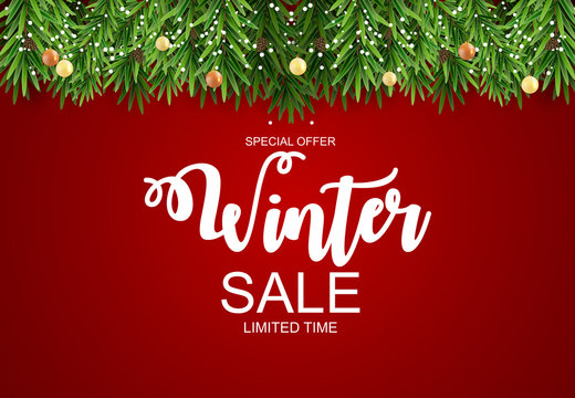 Winter Sale Background Special Offer Banner Background for Business and Advertising. Vector illustration