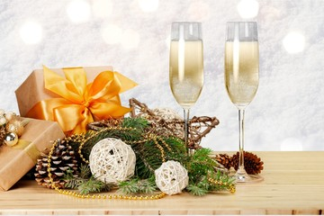 Champagne Glasses with Christmas / New Year Decorations