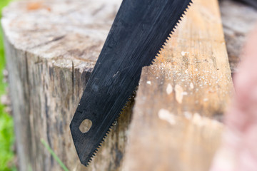 Rusty saw is sawing through the wooden board. Outdoor.