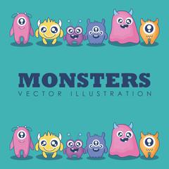 group of cute monsters card