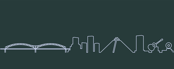 Memphis Single Line Skyline