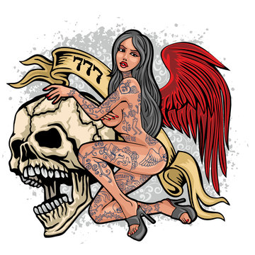 Gothic sign with skull and  sexy tattooed girls, grunge vintage design t shirts