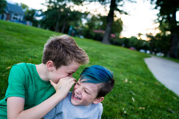 Boy whispering in ear of smiling brother outdoors