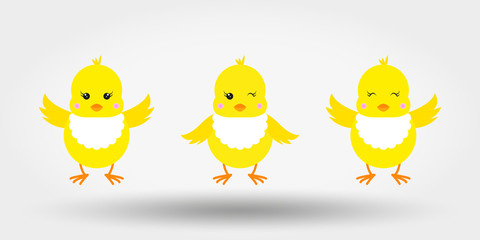 Chicks in bib. Icon. Vector illustration. Flat design
