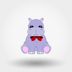 Hippo baby with red bow. Icon. Vector illustration. Flat design