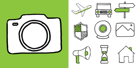 Set of technology and travel doodle icons