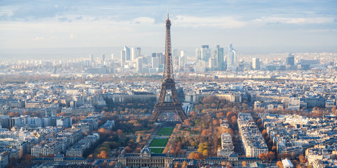 above view of Eiffel Tower and La Defence in Paris