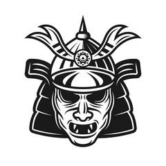 Samurai traditional japanese mask vector object