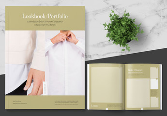 Lookbook Photo Portfolio Layout with Gold Accents