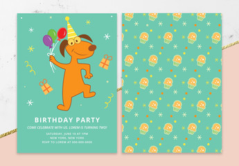 Birthday Invitation Layout with Animals
