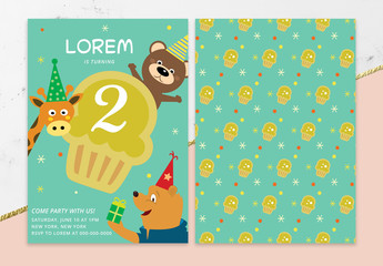 Birthday Party Card Layout with Animals