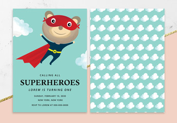 Superhero Birthday Party Invitation Layout