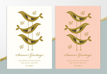 Season's Greetings Card Layout with Birds