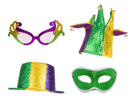 Mardi Gras Party Accessories Isolated