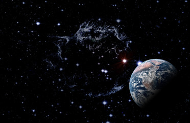 Planet Earth among deep dark space with stars and nebulae. Elements of this image furnished by NASA.