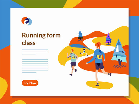 Running website template illustration in mixcolor style vector