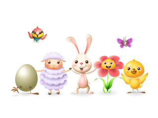 Easter bunny and friends celebrate Easter and spring - egg chicken sheep flower butterfly and bee-eater bird - isolated on white