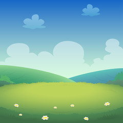 Fotobehang Pistache Spring landscape with fields and green hills - vector illustration