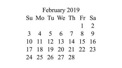 February 2019. Calendar 2019 vector. Simple design minimal 2019 calendar on desktop wallpaper