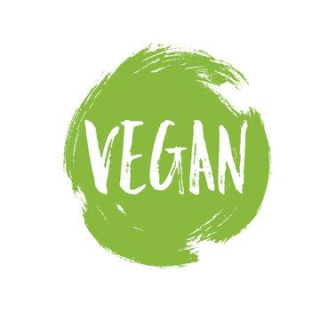 Vegan circular green grunge emblem badge