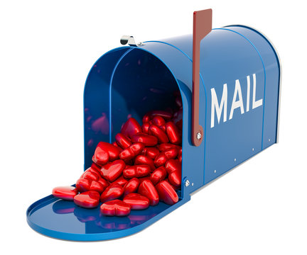 Mailbox with heap of red hearts. Valentine cards concept, 3D rendering