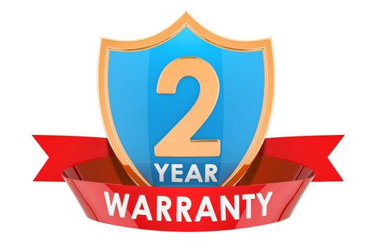 2 year warranty shield, badge. 3D rendering
