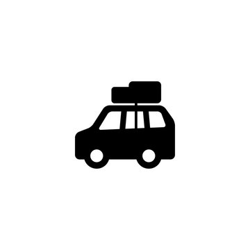 car with luggage icon vector. car with luggage vector graphic illustration