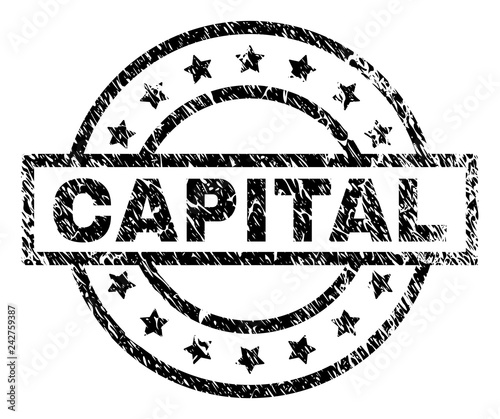 CAPITAL Stamp Seal Watermark With Distress Style Designed Rectangle Circles And Stars
